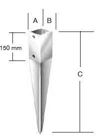 Опорный стакан для бруса (забивной)
