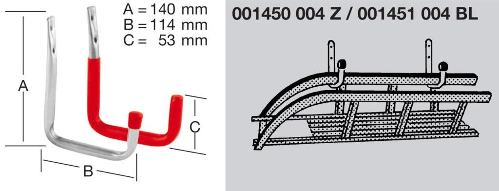 Крюк настенный U-образный арт.001451004bl