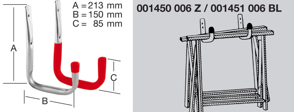 Крюк настенный U-образный чертеж